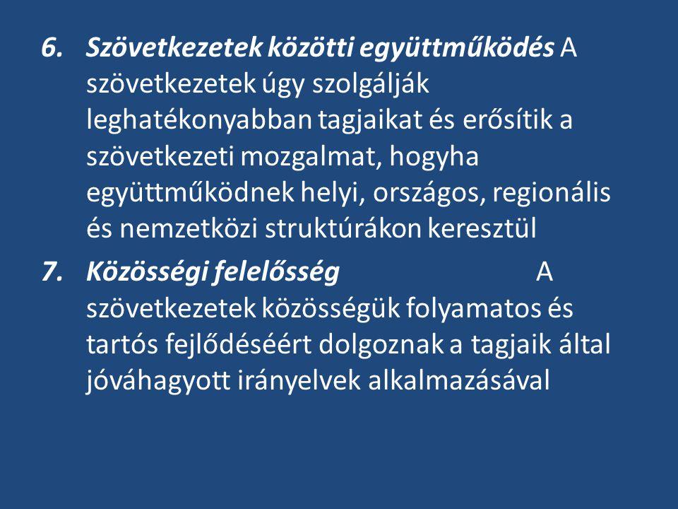Szövetkezetek közötti együttműködés A szövetkezetek úgy szolgálják leghatékonyabban tagjaikat és erősítik a szövetkezeti mozgalmat, hogyha együttműködnek helyi, országos, regionális és nemzetközi struktúrákon keresztül
