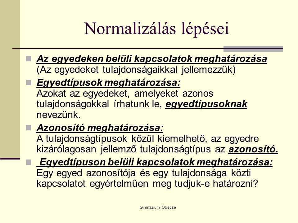 Normalizálás lépései Az egyedeken belüli kapcsolatok meghatározása (Az egyedeket tulajdonságaikkal jellemezzük)