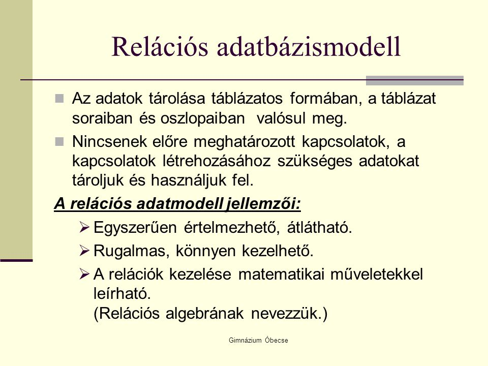Relációs adatbázismodell