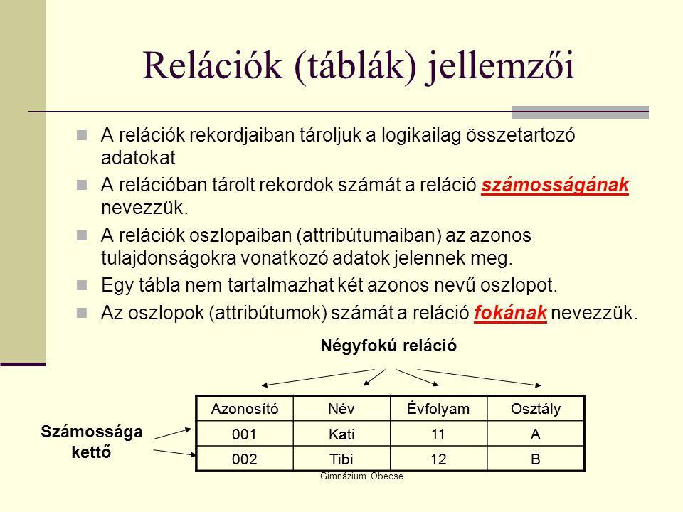 Relációk (táblák) jellemzői