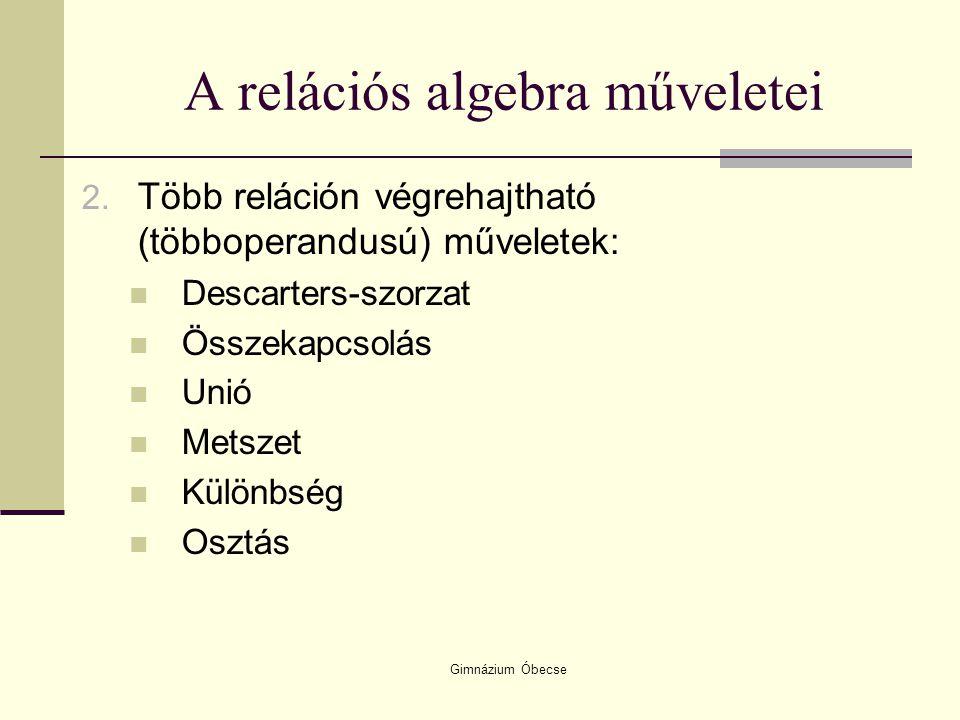 A relációs algebra műveletei