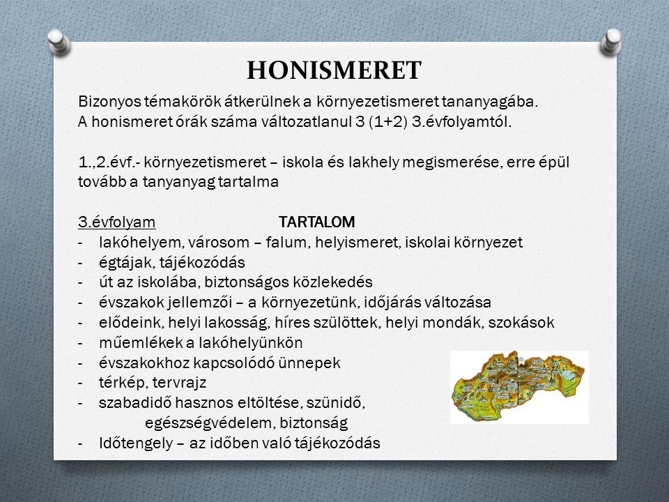 HONISMERET Bizonyos témakörök átkerülnek a környezetismeret tananyagába. A honismeret órák száma változatlanul 3 (1+2) 3.évfolyamtól.
