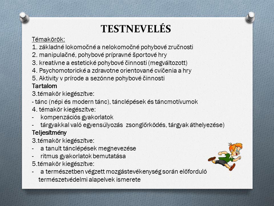 TESTNEVELÉS Témakörök:
