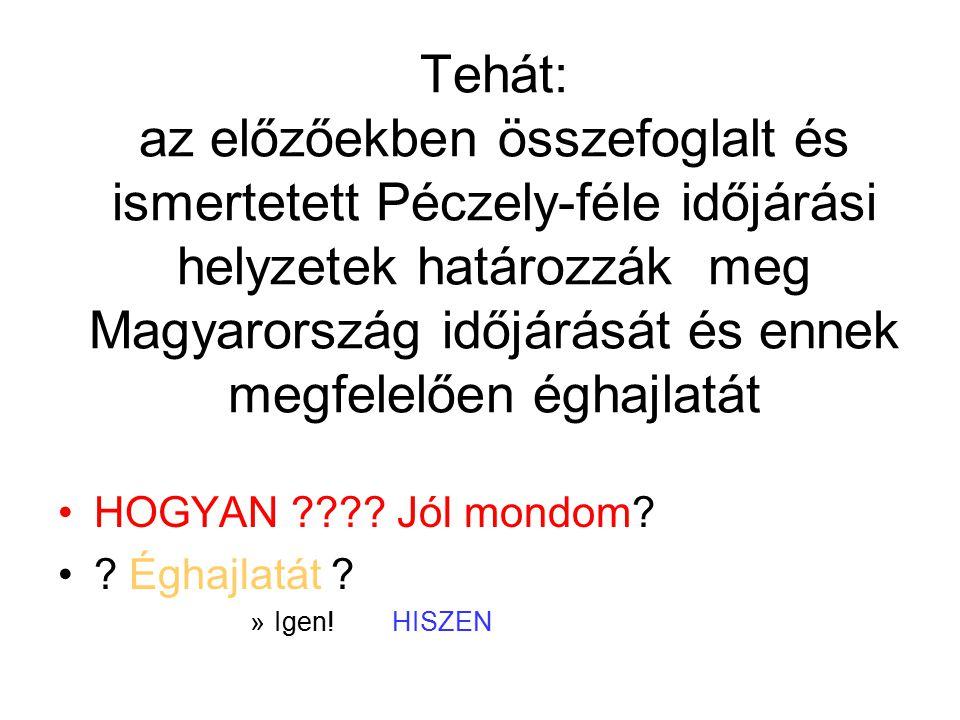 Tehát: az előzőekben összefoglalt és ismertetett Péczely-féle időjárási helyzetek határozzák meg Magyarország időjárását és ennek megfelelően éghajlatát