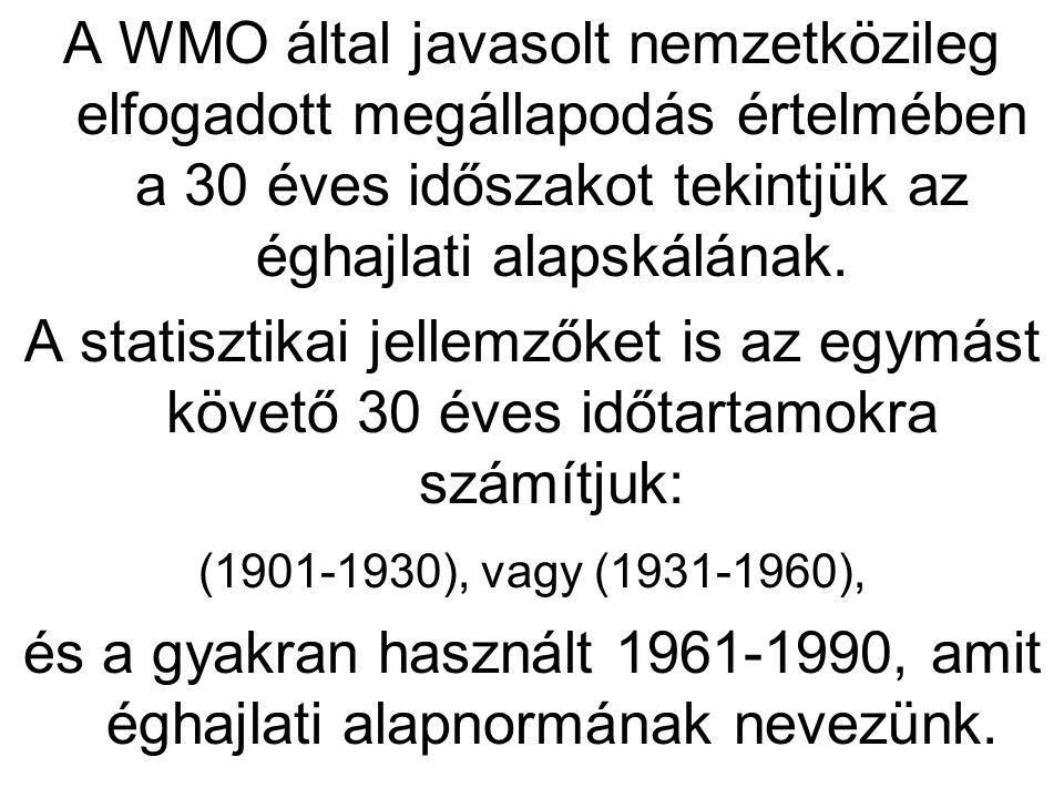 és a gyakran használt 1961-1990, amit éghajlati alapnormának nevezünk.
