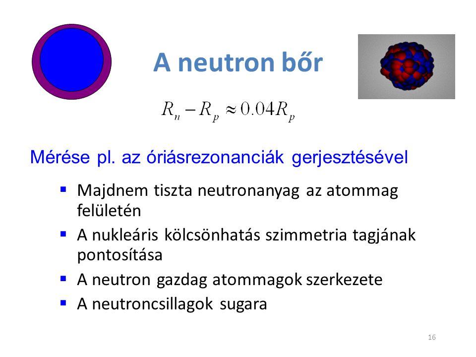 A neutron bőr Mérése pl. az óriásrezonanciák gerjesztésével