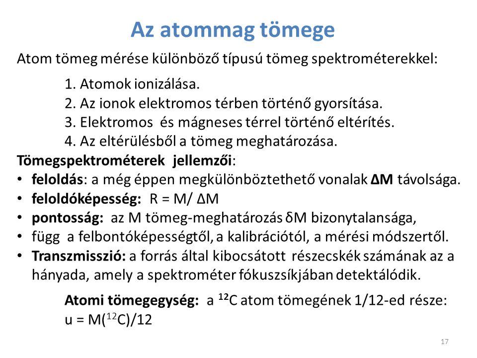Az atommag tömege Atom tömeg mérése különböző típusú tömeg spektrométerekkel: 1. Atomok ionizálása.