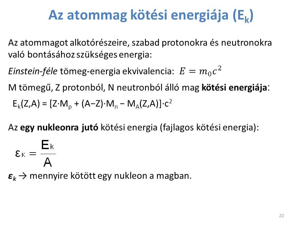 Az atommag kötési energiája (Ek)