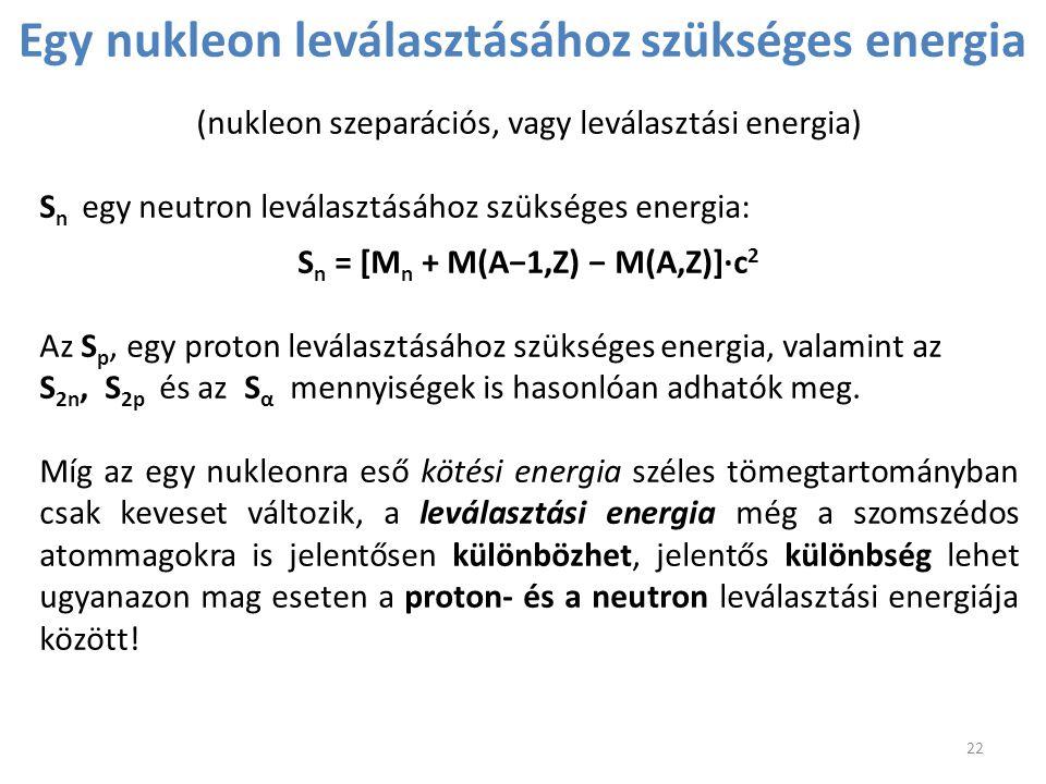 Egy nukleon leválasztásához szükséges energia