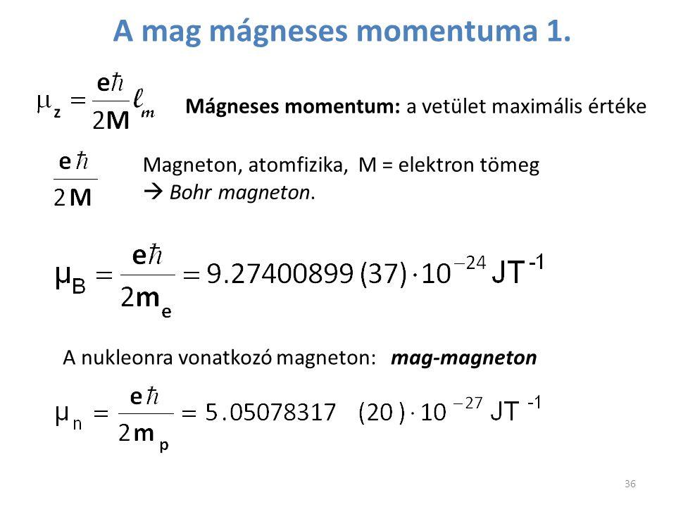 A mag mágneses momentuma 1.