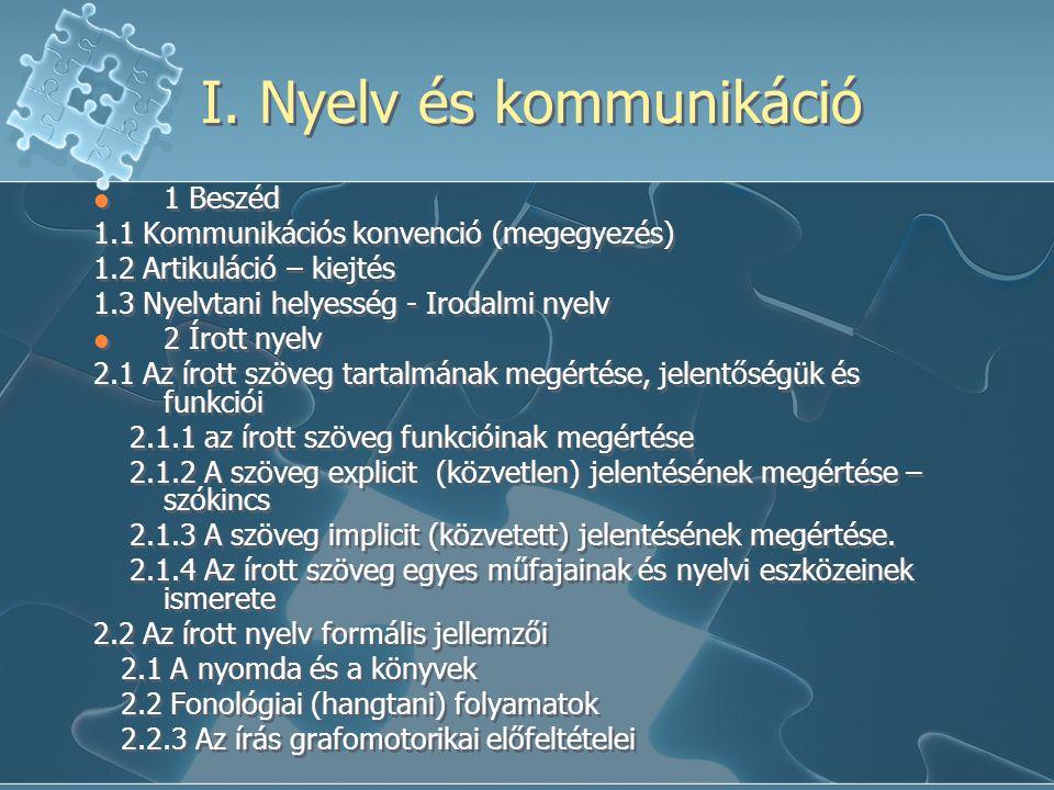 I. Nyelv és kommunikáció