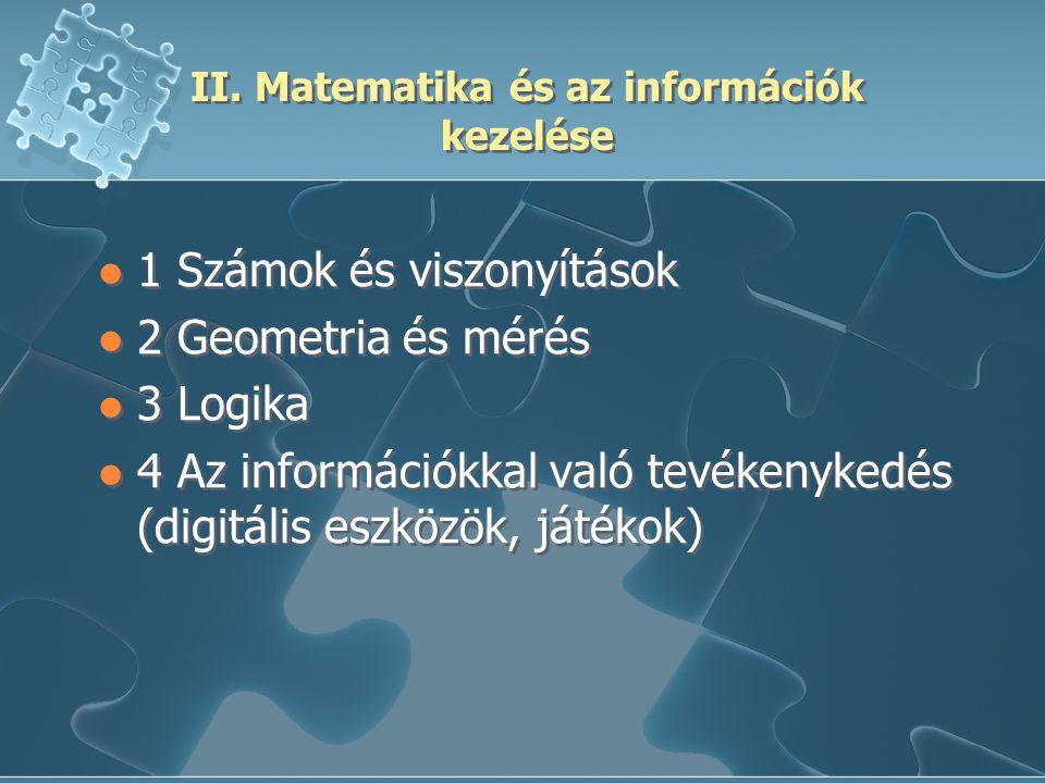 II. Matematika és az információk kezelése