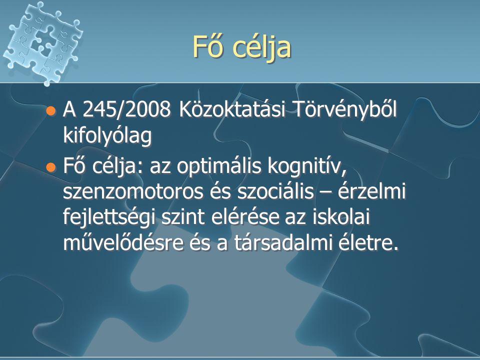 Fő célja A 245/2008 Közoktatási Törvényből kifolyólag