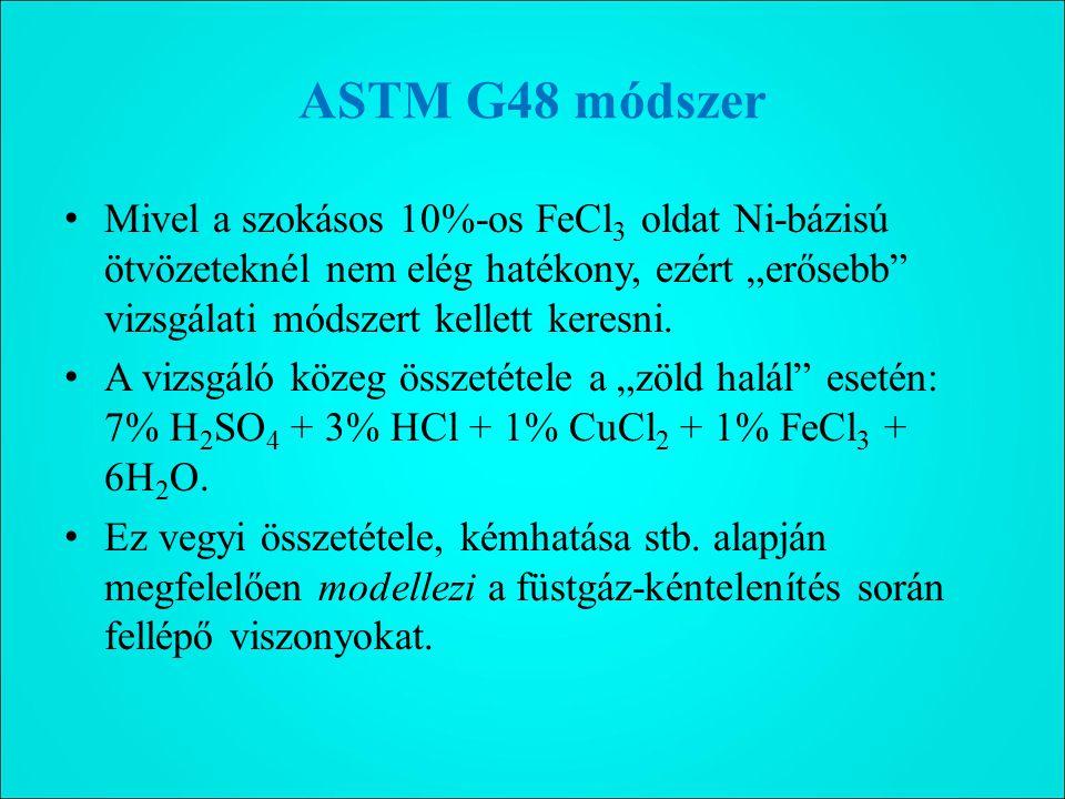 """ASTM G48 módszer Mivel a szokásos 10%-os FeCl3 oldat Ni-bázisú ötvözeteknél nem elég hatékony, ezért """"erősebb vizsgálati módszert kellett keresni."""