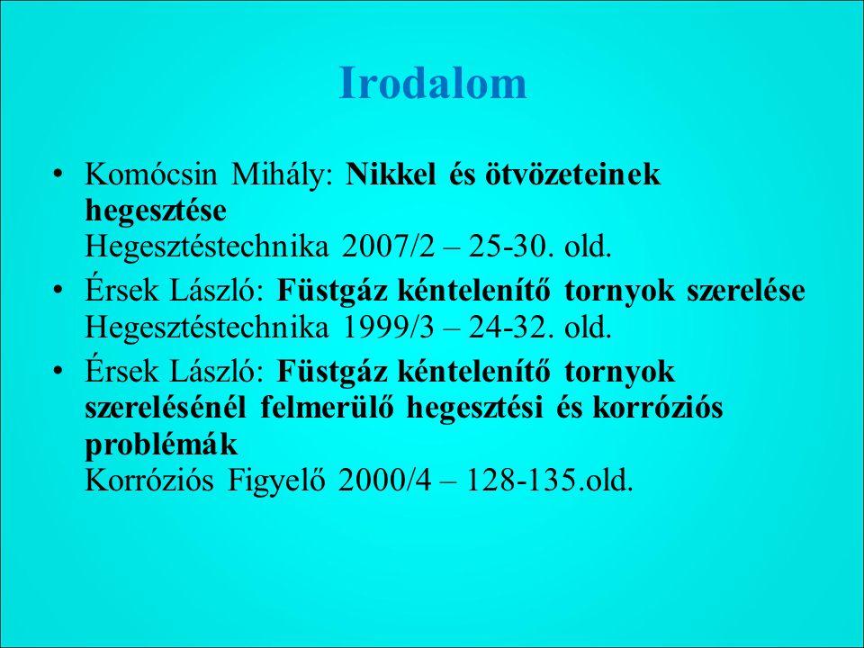 Irodalom Komócsin Mihály: Nikkel és ötvözeteinek hegesztése Hegesztéstechnika 2007/2 – 25-30. old.