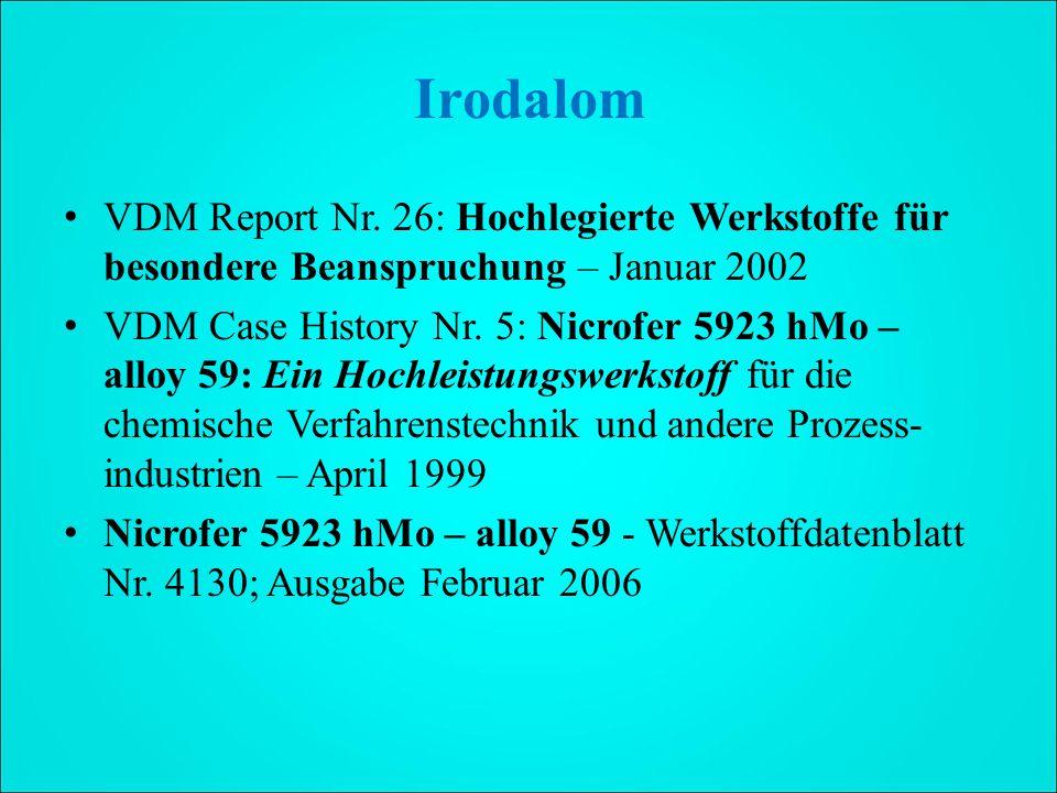 Irodalom VDM Report Nr. 26: Hochlegierte Werkstoffe für besondere Beanspruchung – Januar 2002.