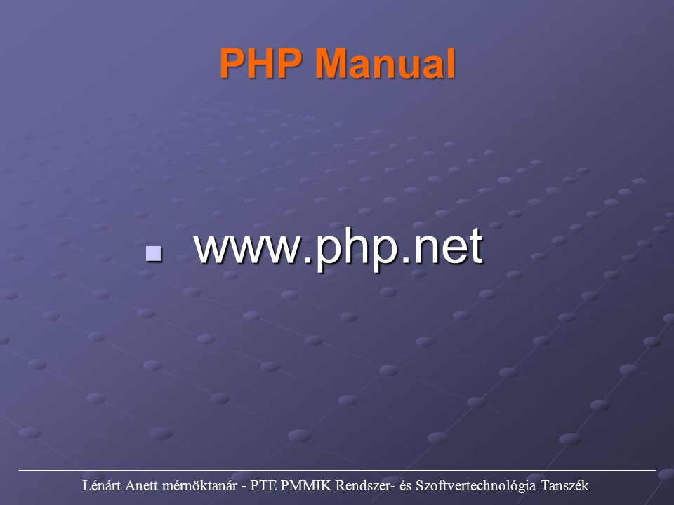 PHP Manual www.php.net.