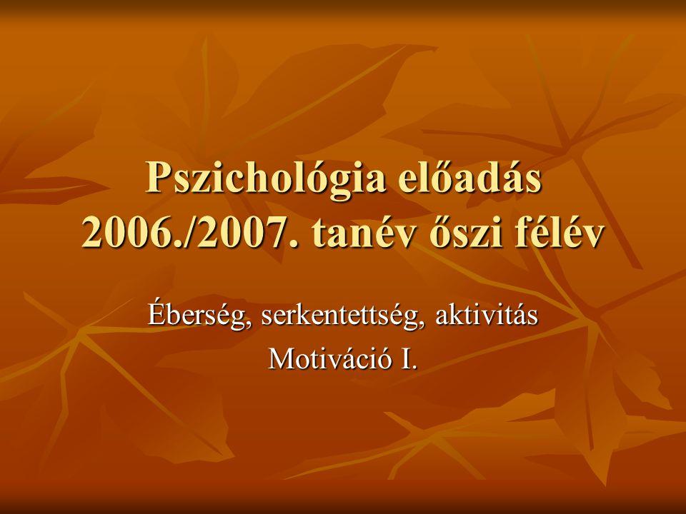 Pszichológia előadás 2006./2007. tanév őszi félév