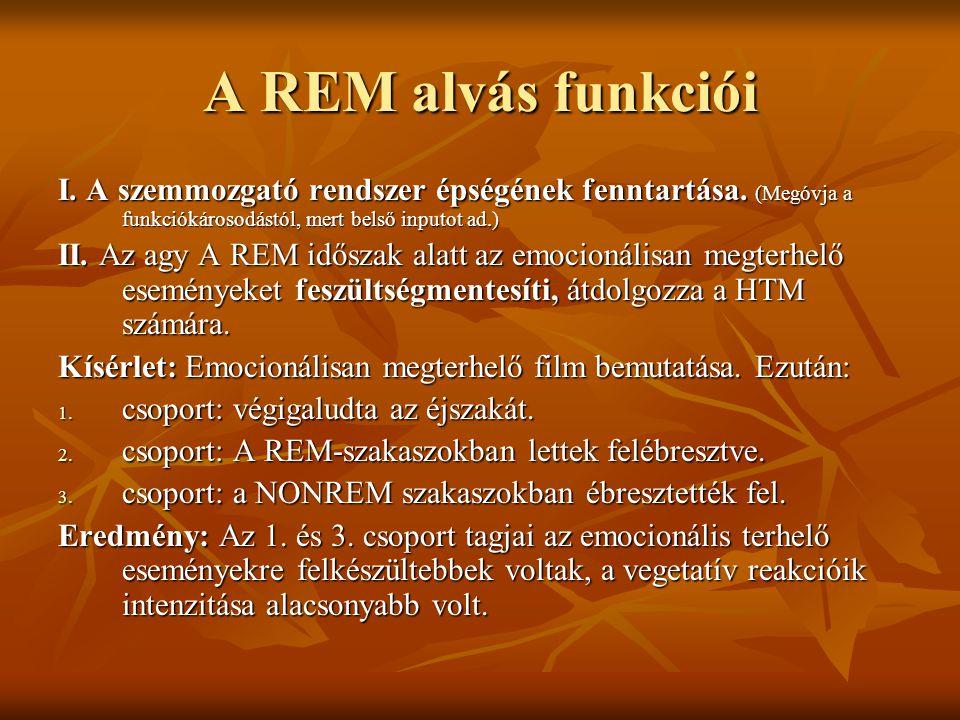 A REM alvás funkciói I. A szemmozgató rendszer épségének fenntartása. (Megóvja a funkciókárosodástól, mert belső inputot ad.)