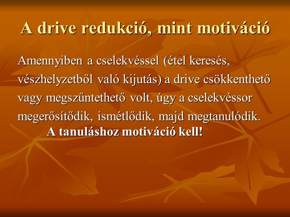 A drive redukció, mint motiváció