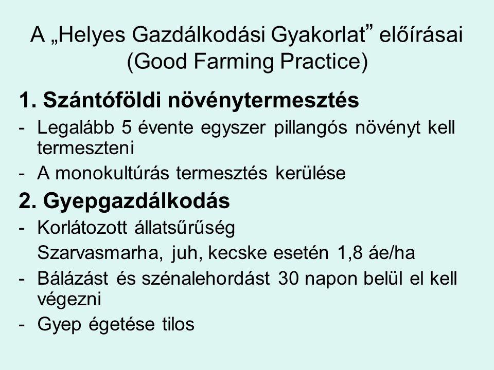 """A """"Helyes Gazdálkodási Gyakorlat előírásai (Good Farming Practice)"""