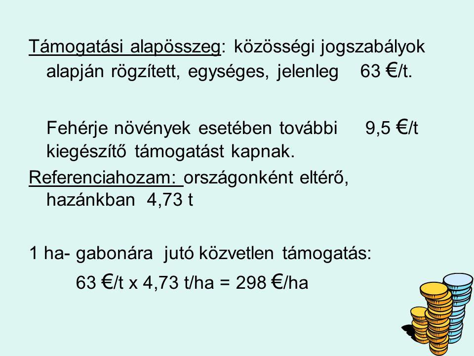 Támogatási alapösszeg: közösségi jogszabályok alapján rögzített, egységes, jelenleg 63 €/t.