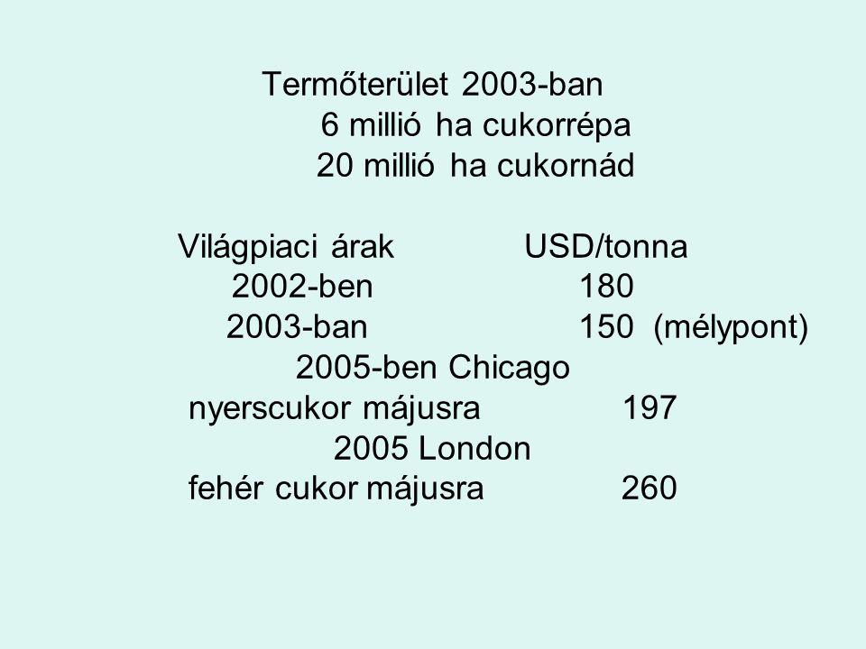 Termőterület 2003-ban. 6 millió ha cukorrépa