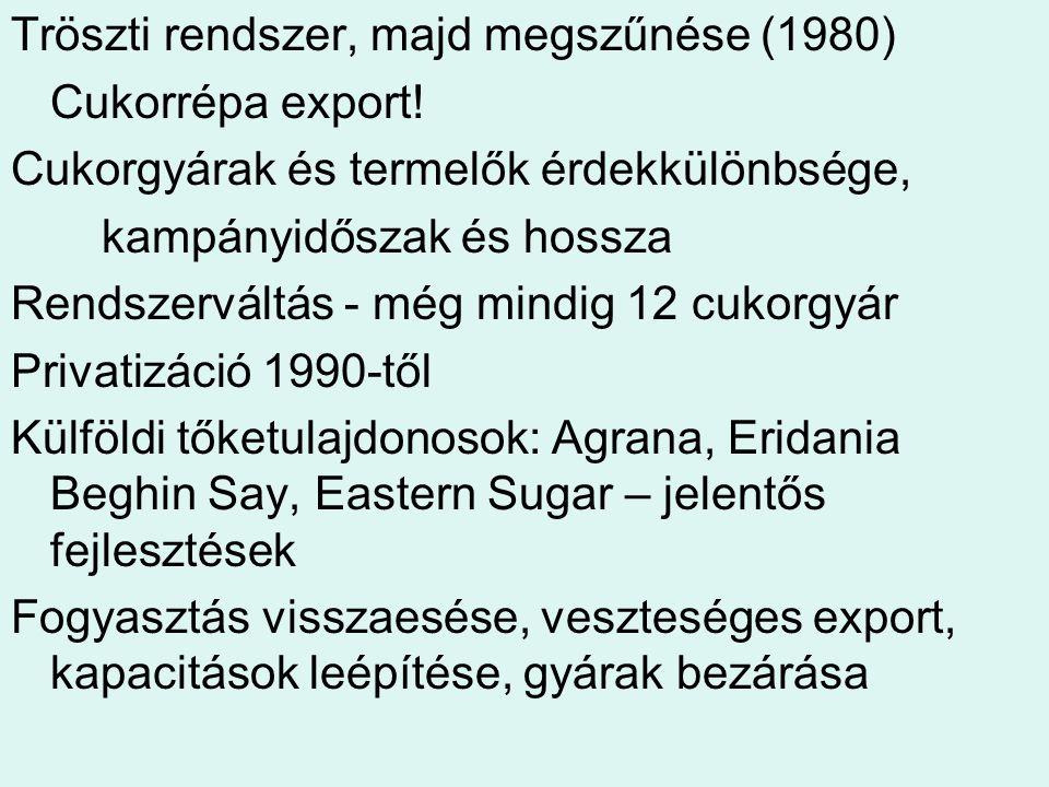 Tröszti rendszer, majd megszűnése (1980)