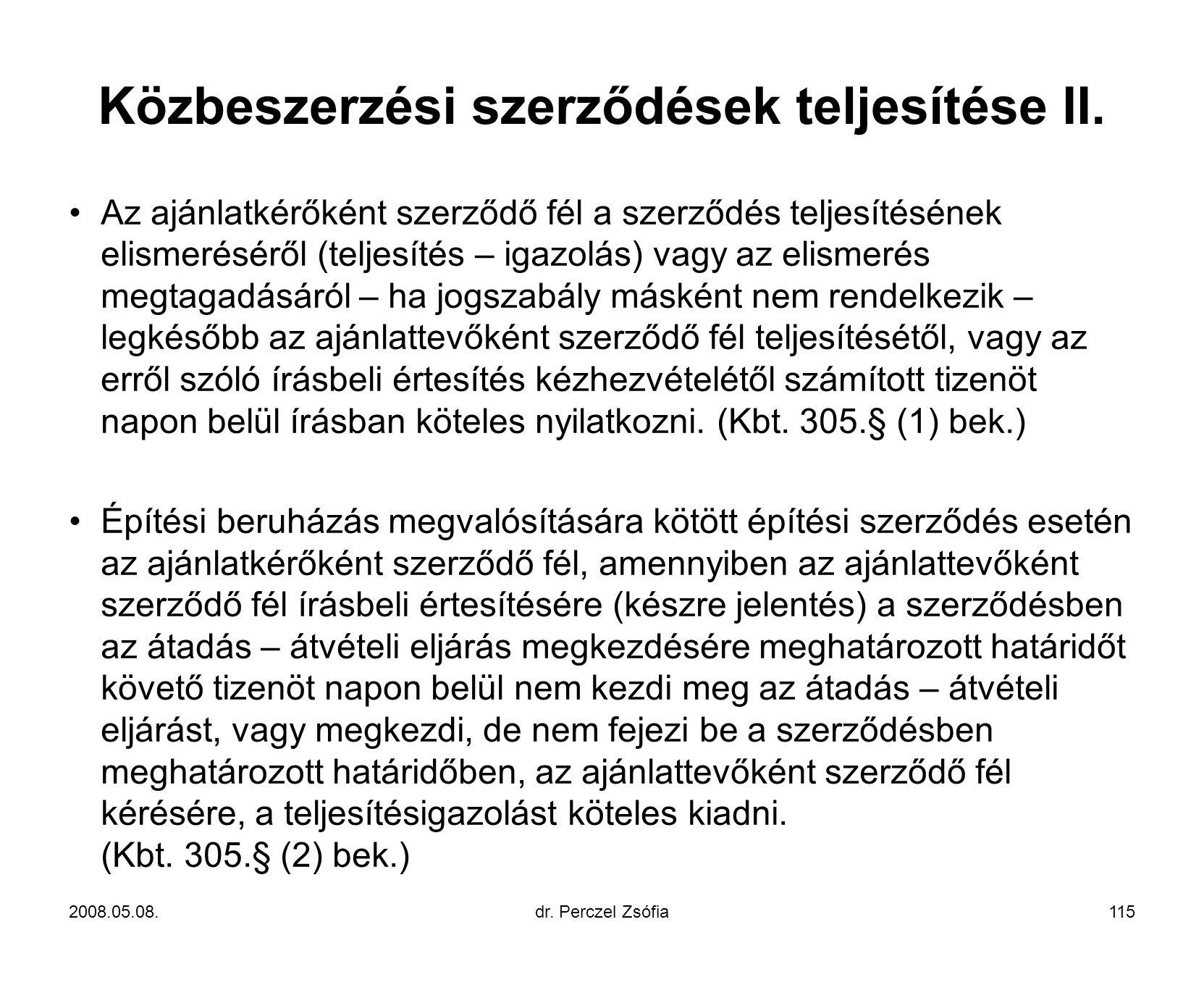 Közbeszerzési szerződések teljesítése II.