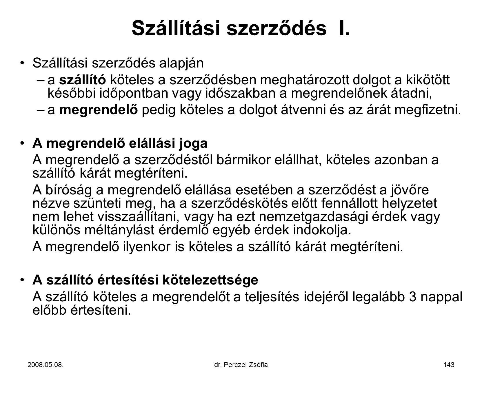 Szállítási szerződés I.