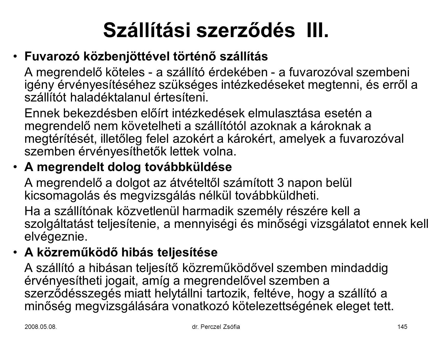 Szállítási szerződés III.