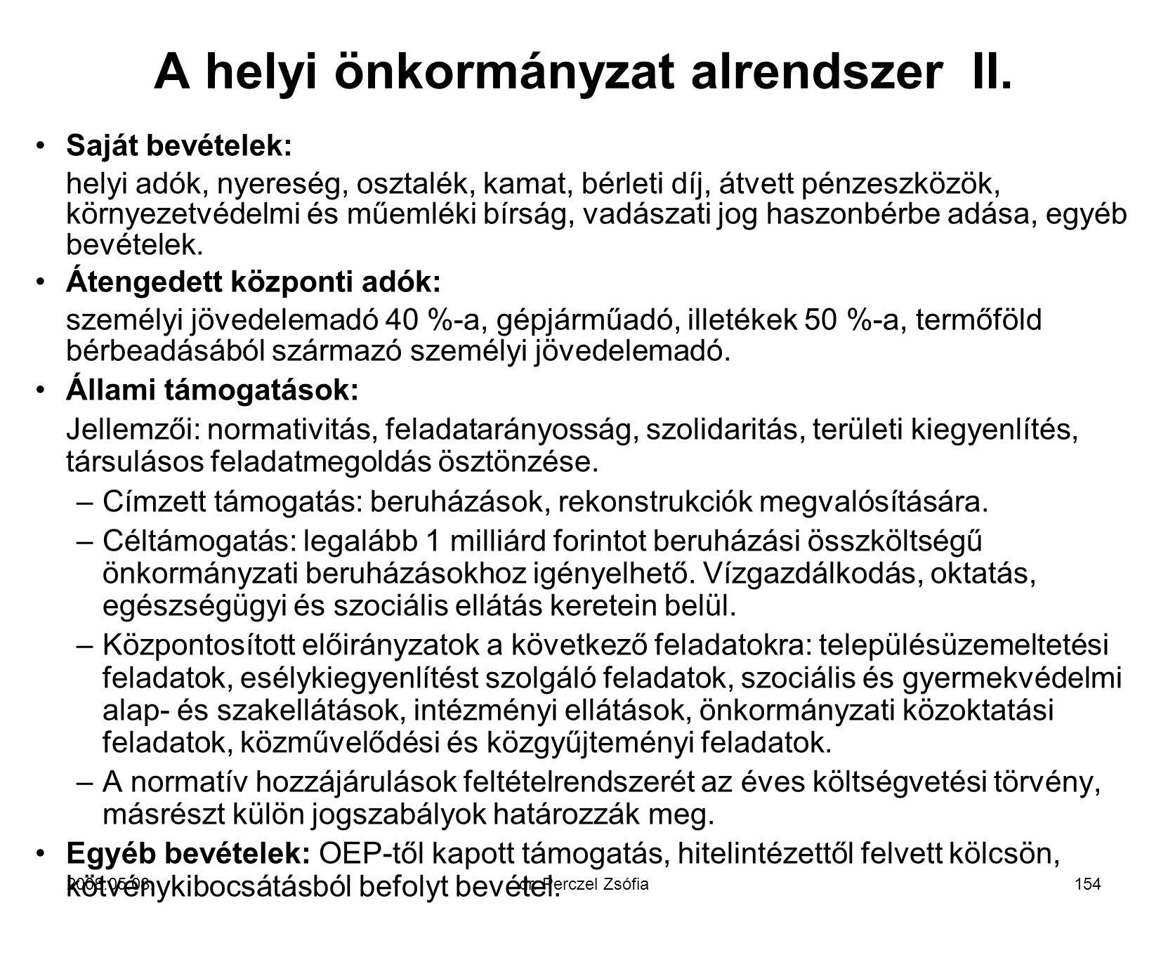 A helyi önkormányzat alrendszer II.