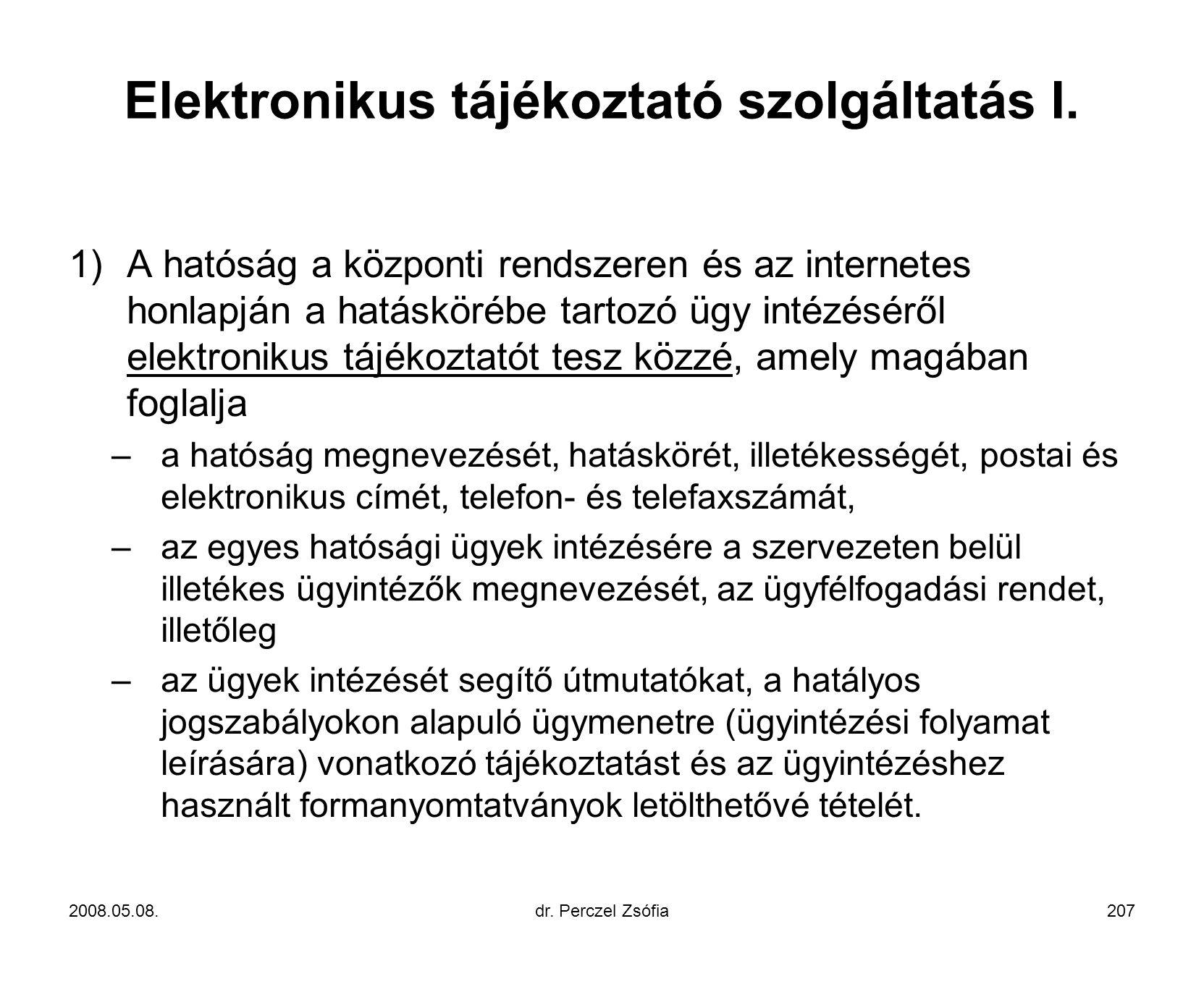Elektronikus tájékoztató szolgáltatás I.