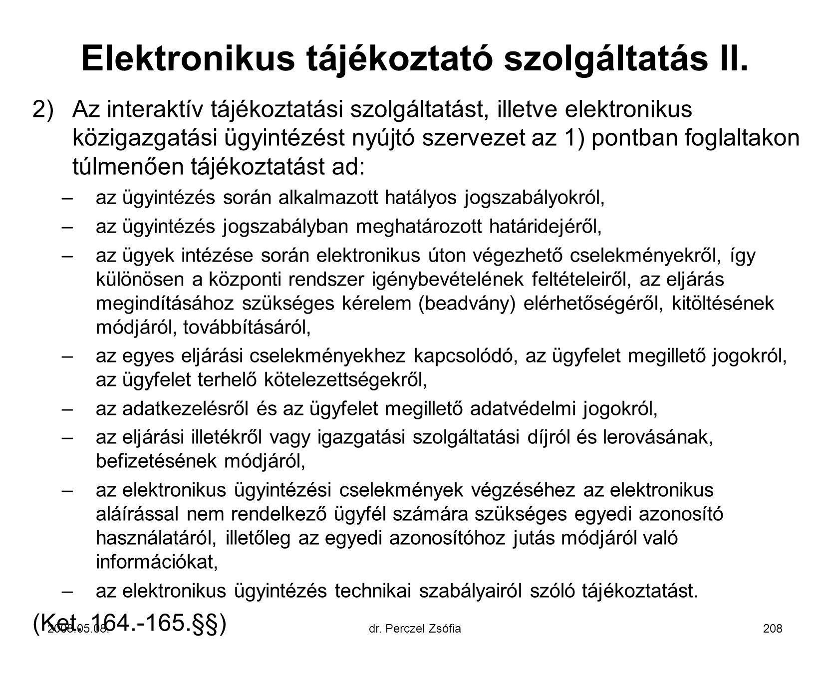 Elektronikus tájékoztató szolgáltatás II.