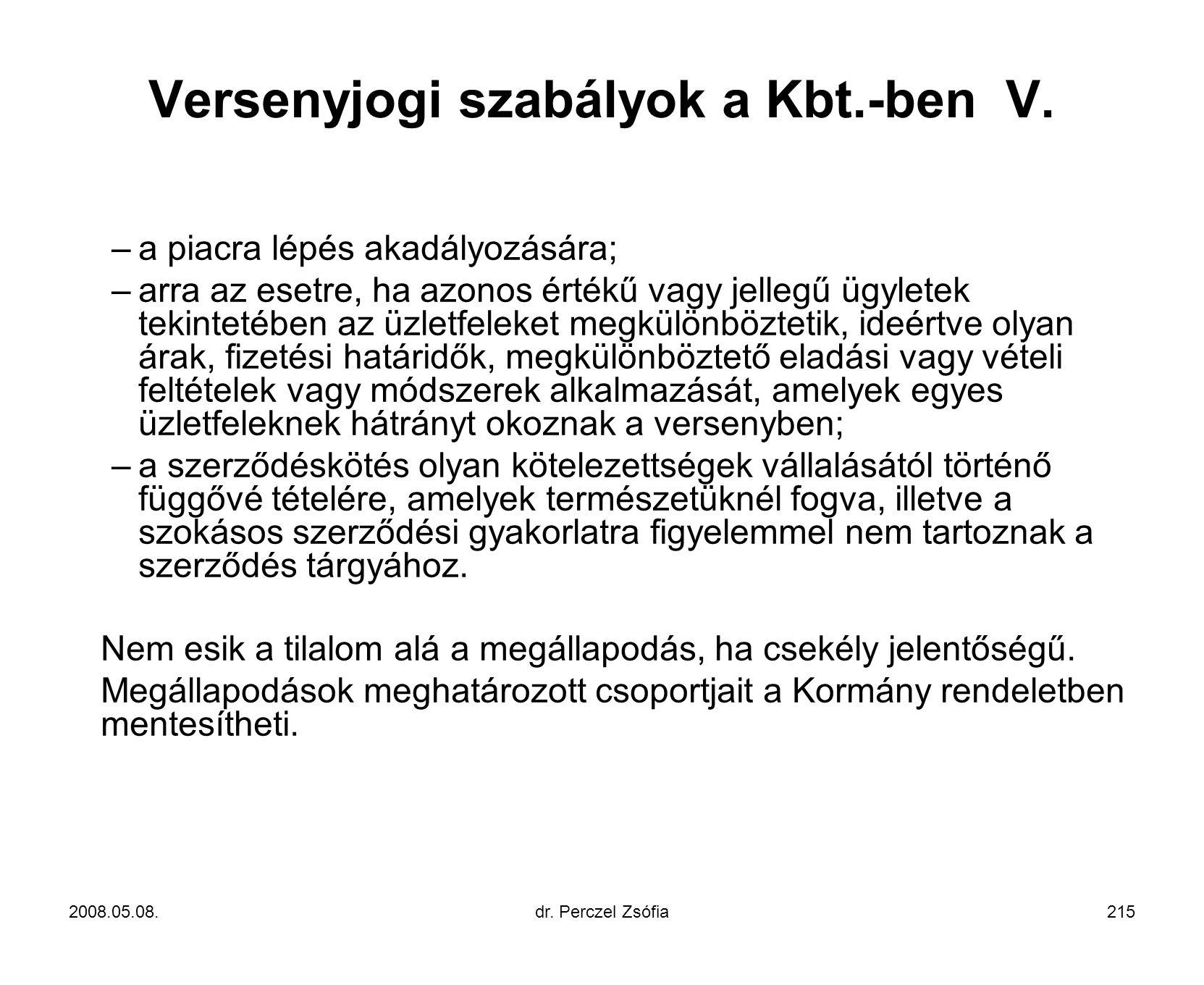 Versenyjogi szabályok a Kbt.-ben V.