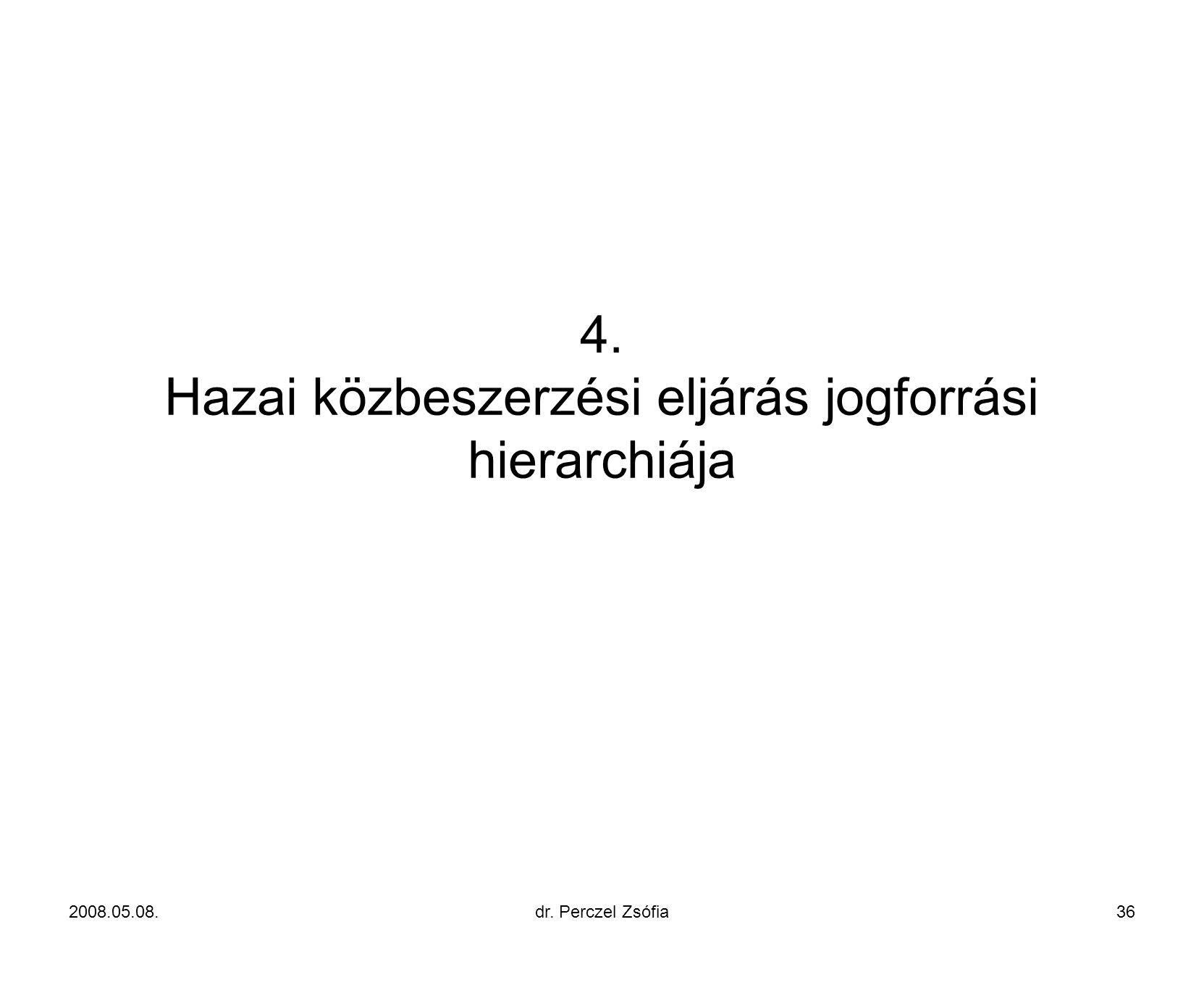 4. Hazai közbeszerzési eljárás jogforrási hierarchiája