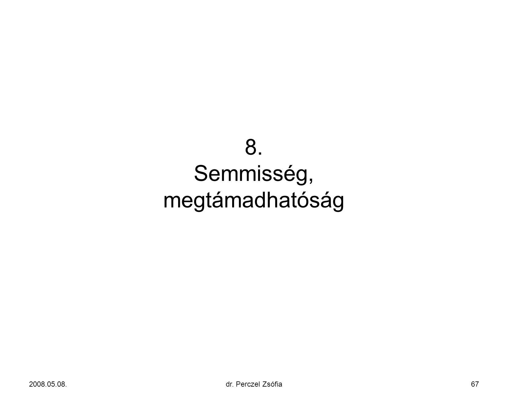 8. Semmisség, megtámadhatóság