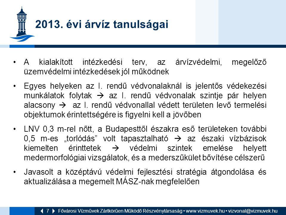 2013. évi árvíz tanulságai A kialakított intézkedési terv, az árvízvédelmi, megelőző üzemvédelmi intézkedések jól működnek.