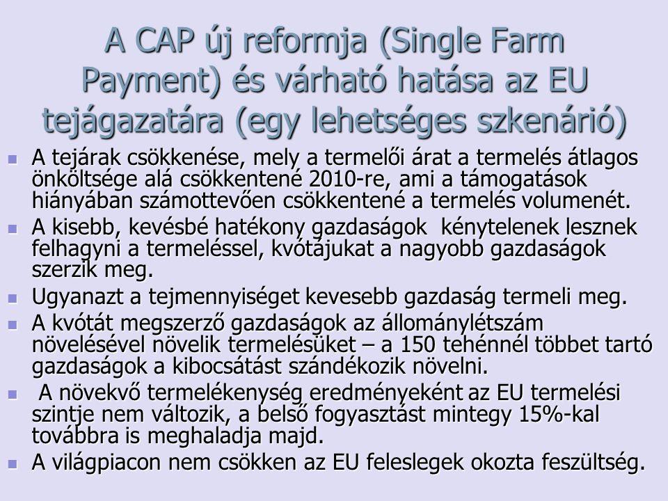 A CAP új reformja (Single Farm Payment) és várható hatása az EU tejágazatára (egy lehetséges szkenárió)
