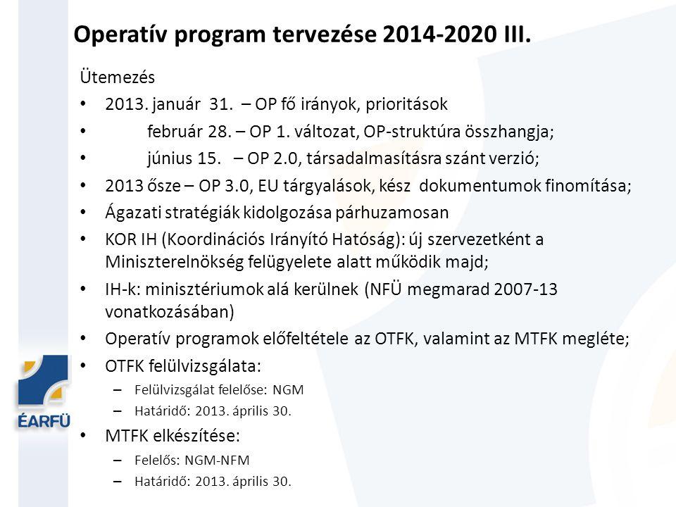 Operatív program tervezése 2014-2020 III.