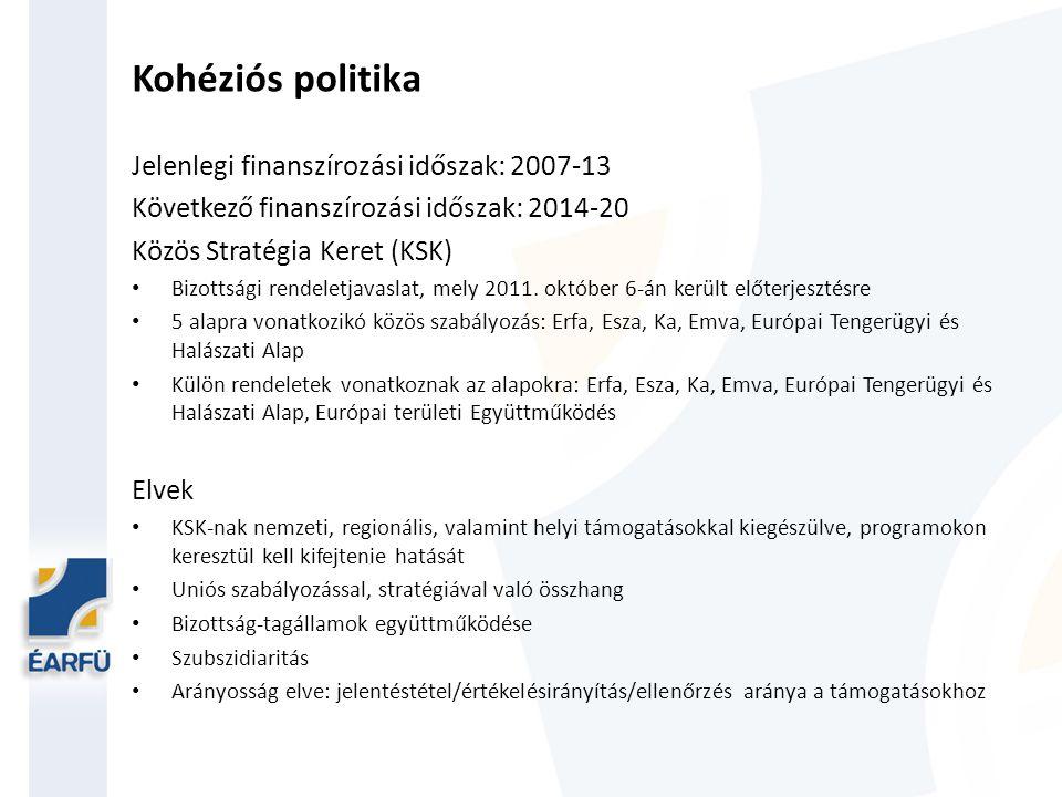 Kohéziós politika Jelenlegi finanszírozási időszak: 2007-13