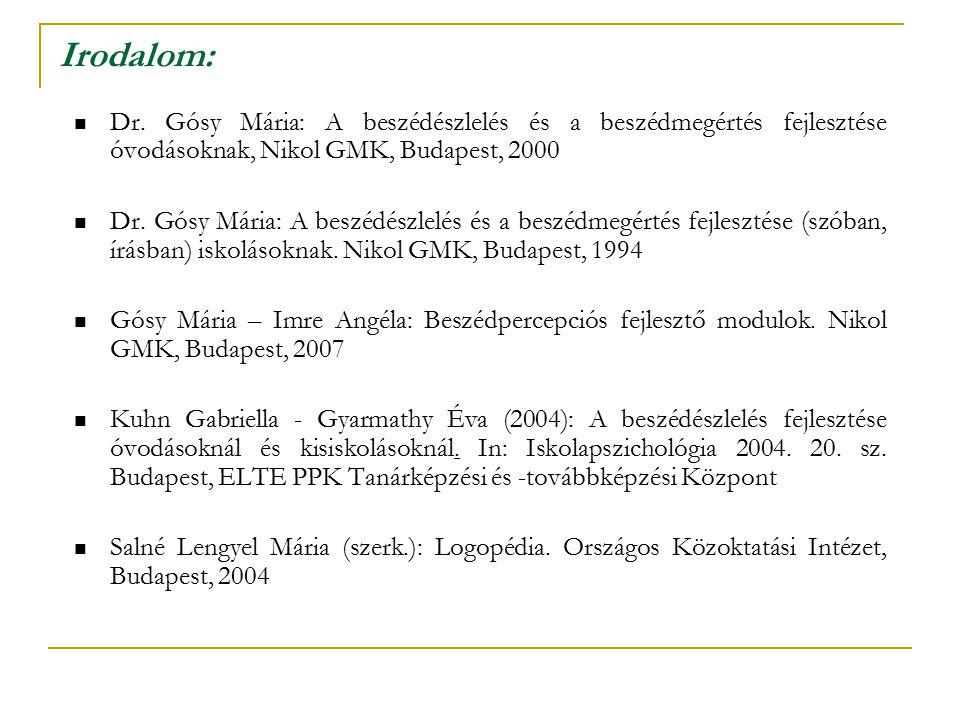 Irodalom: Dr. Gósy Mária: A beszédészlelés és a beszédmegértés fejlesztése óvodásoknak, Nikol GMK, Budapest, 2000.