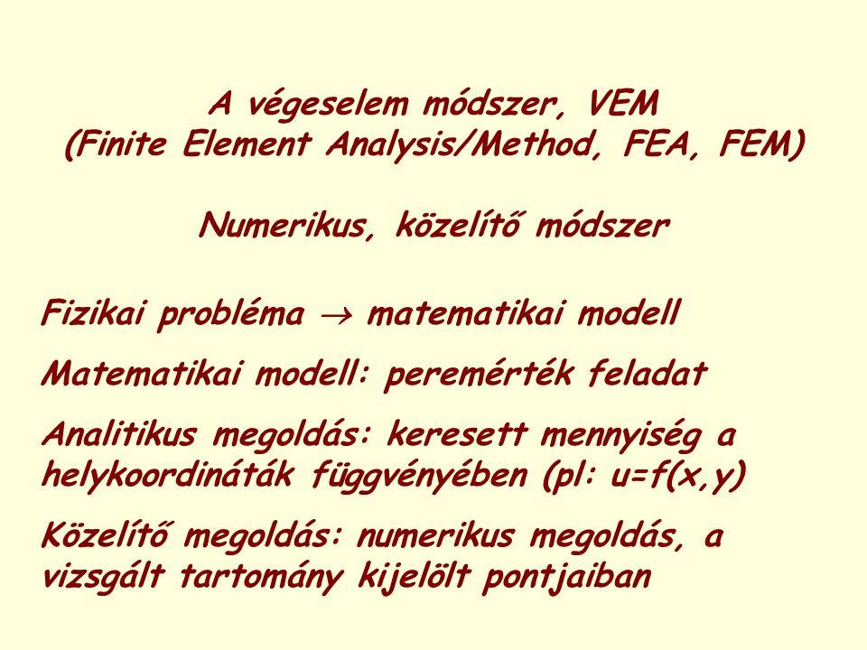 A végeselem módszer, VEM (Finite Element Analysis/Method, FEA, FEM) Numerikus, közelítő módszer