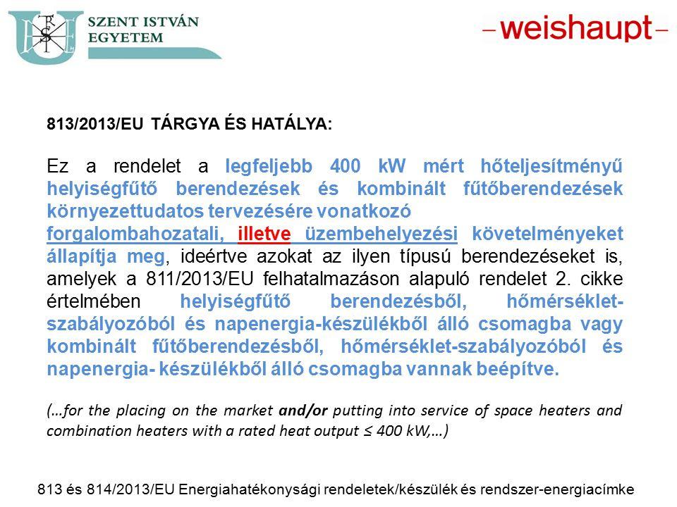 813/2013/EU Tárgya és hatálya: