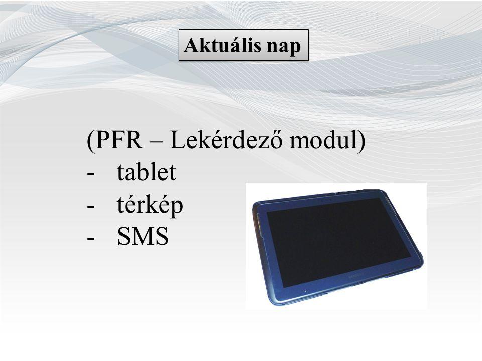 (PFR – Lekérdező modul) tablet térkép SMS
