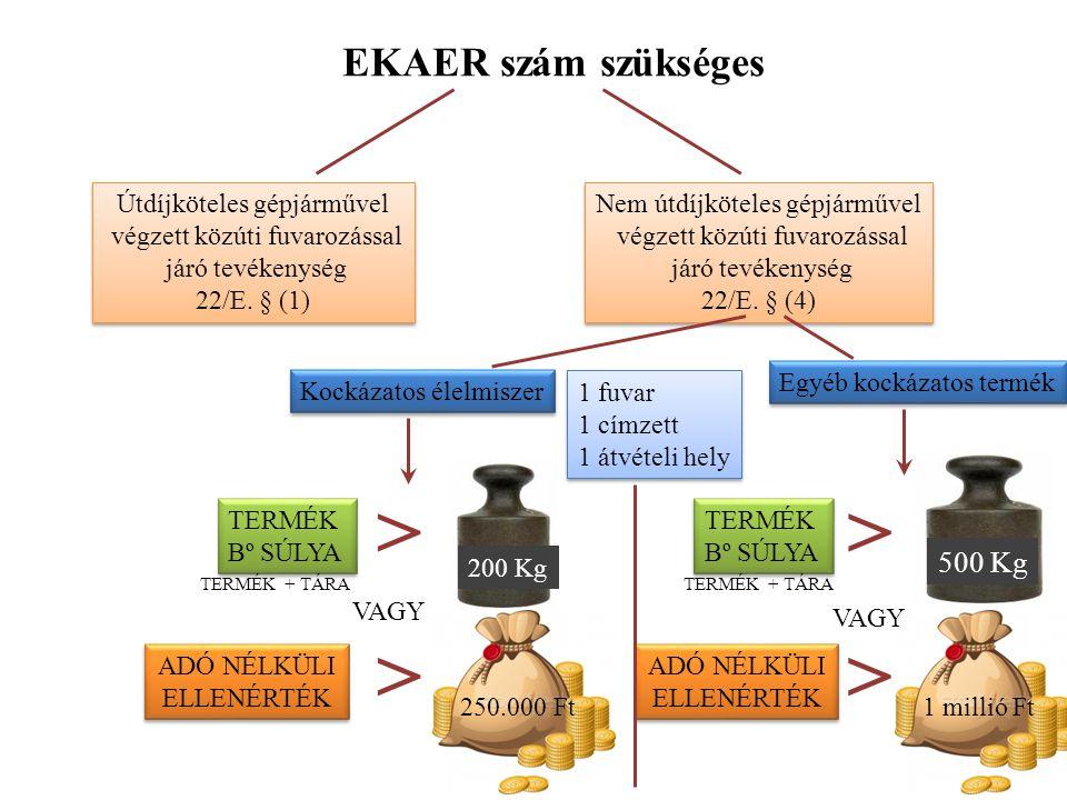 > > > > EKAER szám szükséges 500 Kg
