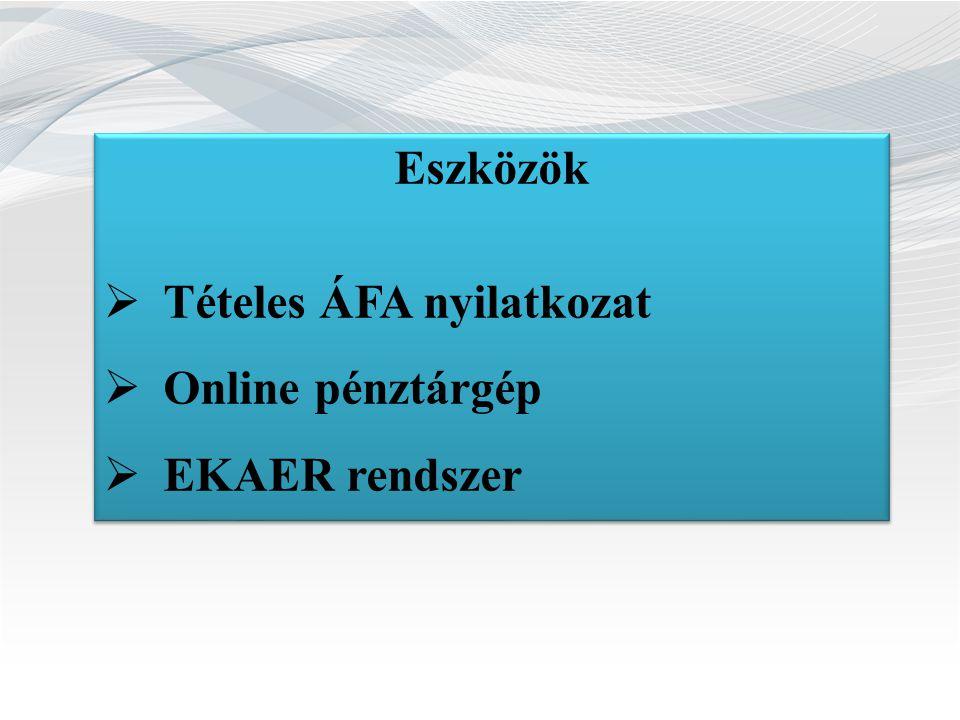 Eszközök Tételes ÁFA nyilatkozat Online pénztárgép EKAER rendszer