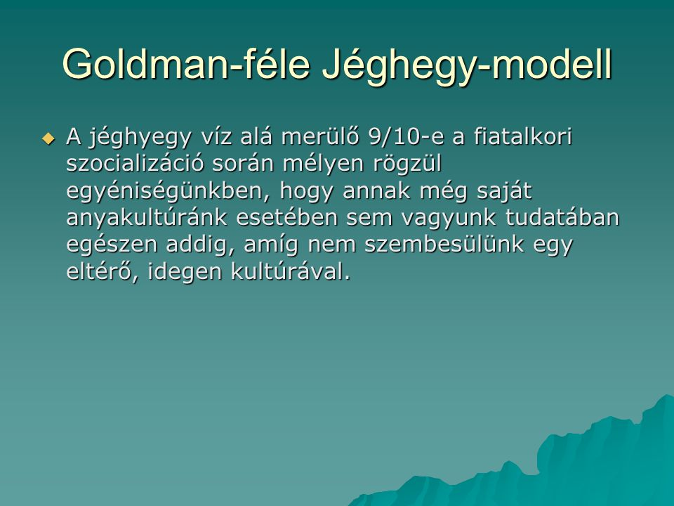 Goldman-féle Jéghegy-modell