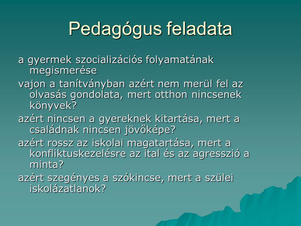 Pedagógus feladata a gyermek szocializációs folyamatának megismerése