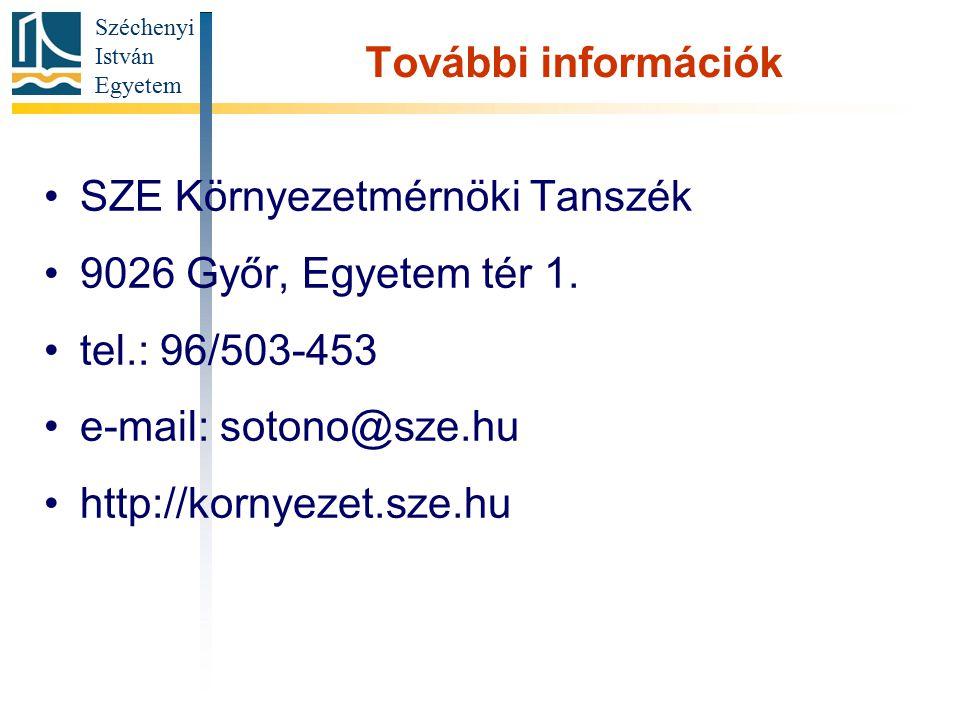 További információk SZE Környezetmérnöki Tanszék. 9026 Győr, Egyetem tér 1. tel.: 96/503-453. e-mail: sotono@sze.hu.
